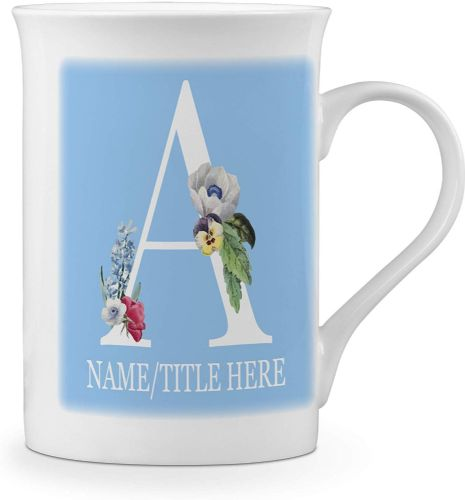 Personalised Floral Initial Letters (Any Name/Title) Novelty Music Fine Bone China Mug - Blue